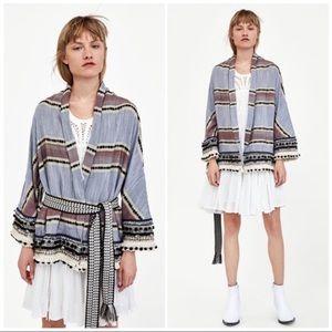 Zara Woman Striped Belted Pom Pom Kimono NWOT